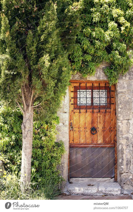 Gartentür. Natur Abenteuer Eingang Eingangstür Eingangstor Grundstück Besitz Tür Spanien Mallorca grün Baum Farbfoto Gedeckte Farben Außenaufnahme Menschenleer