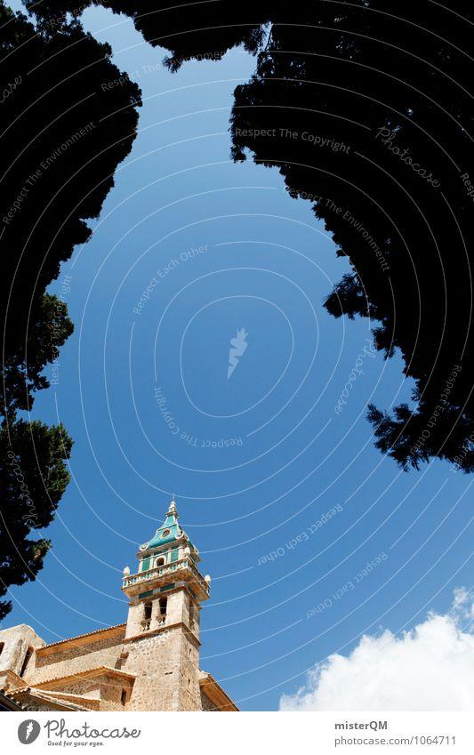 the blue tower. Kunst ästhetisch Zufriedenheit Valldemossa Spanien Mallorca Altstadt Turm dezent mediterran Bauwerk Architektur Farbfoto Gedeckte Farben