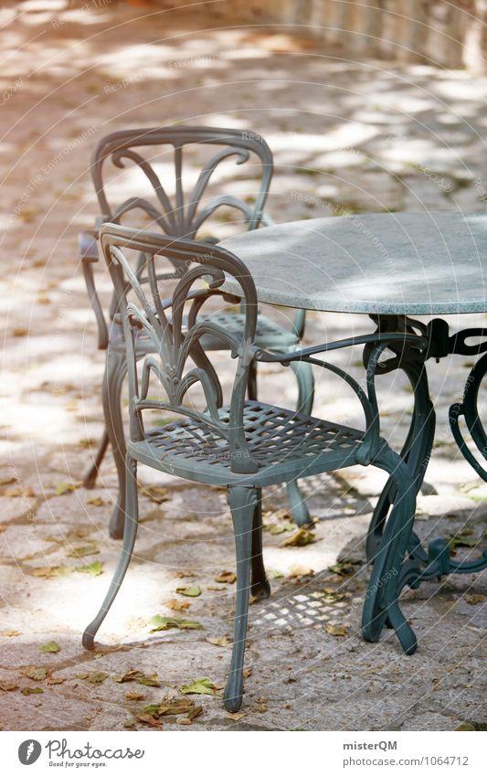 Sitzecke. Garten gehen Kunst Zufriedenheit ästhetisch Tisch Stuhl mediterran Sitzgelegenheit verträumt gemütlich Tischplatte Sitzecke