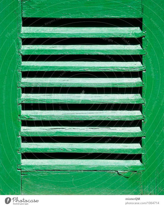 Fenstergrün. Kunst ästhetisch Fensterblick Fensterrahmen Fensterfront Muster Symmetrie Farbfoto Gedeckte Farben Außenaufnahme Nahaufnahme Detailaufnahme