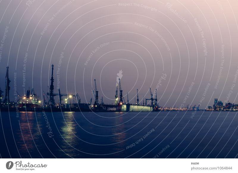 Dunkelzeit Himmel Wasser dunkel kalt Beleuchtung Deutschland Business Arbeit & Erwerbstätigkeit leuchten fantastisch Industrie Hamburg Baustelle