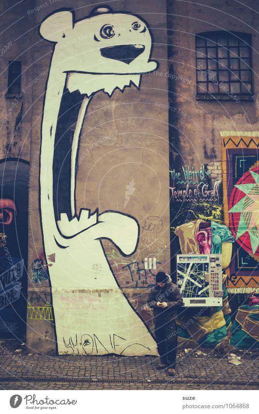 Großstadtdschungel Mensch Jugendliche Junger Mann Haus Wand Graffiti sprechen Stil Mauer Kunst Lifestyle Fassade maskulin Freizeit & Hobby Design Kreativität