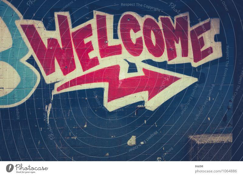 You are alt blau rot Wand Graffiti Stil Mauer Kunst Design Schriftzeichen Kreativität einzigartig Freundlichkeit Coolness Pfeil Richtung