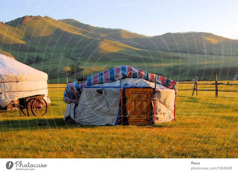 Mongolian Yurt Ger tent Mensch Natur Ferien & Urlaub & Reisen Sommer Lifestyle Horizont Design Abenteuer Asien Tourist Steppe altmodisch Altai Gebirge