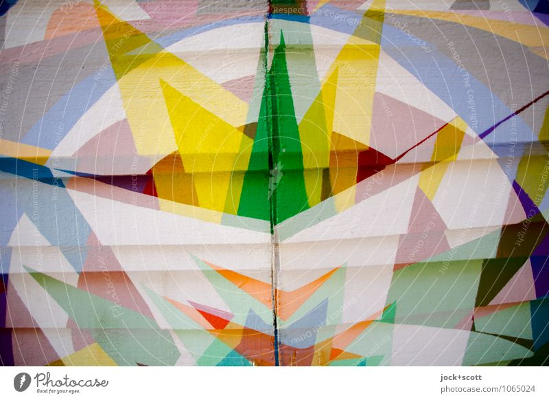 Dezenz Opulenz Stil Design Straßenkunst Dekoration & Verzierung Farbstoff Holzbrett Geometrie Spalte ästhetisch eckig fest trendy einzigartig viele Vorfreude
