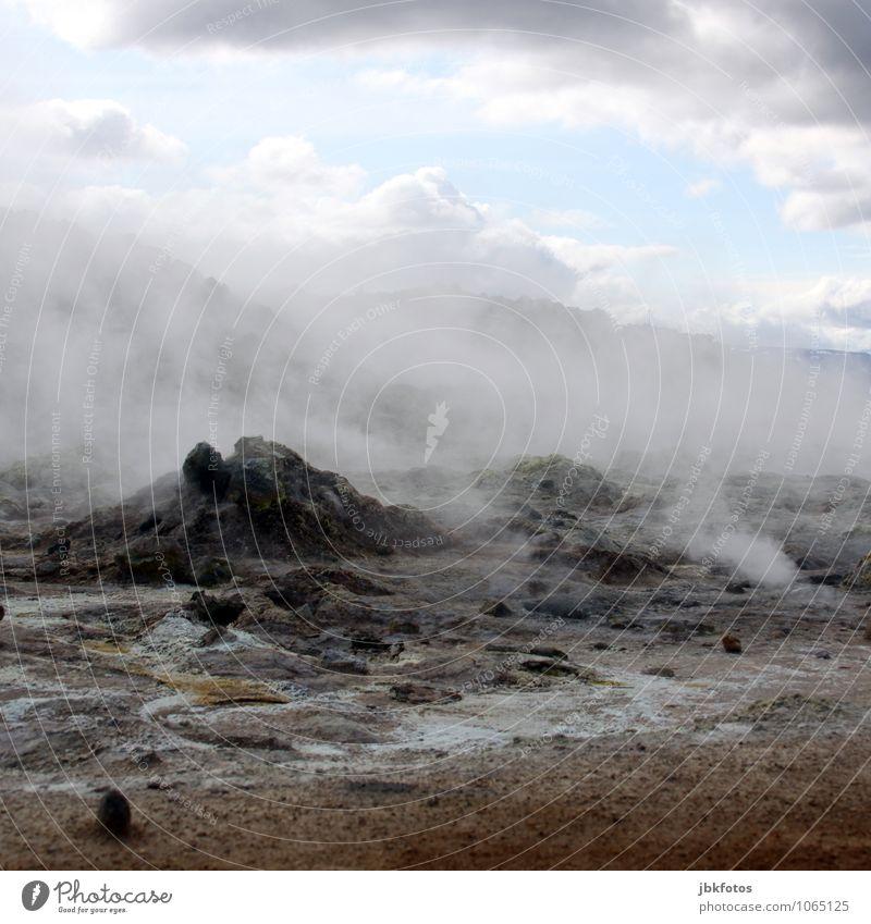 Kurz nach dem Weltuntergang Umwelt Natur Landschaft Urelemente Erde Sand Feuer Wasser Wolken Sommer Klima Nebel Hügel Berge u. Gebirge Vulkan heiß Namafjall