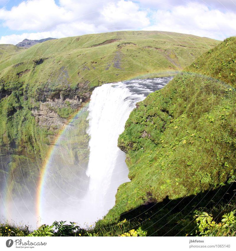 Skógarfoss Himmel Natur Pflanze schön Wasser Meer Landschaft Umwelt Berge u. Gebirge Gras Felsen Horizont Nebel Energie Schönes Wetter Urelemente