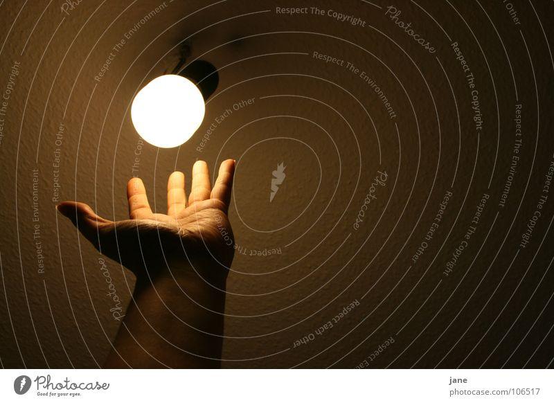 Dem Licht zum greifen nah! Hand dunkel Lampe Finger nah Vertrauen Glühbirne Energiesparlampe