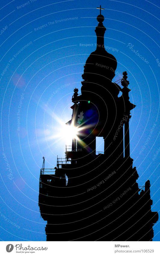 Heiligenschein Himmel Sonne blau Religion & Glaube Kirche Turm Spitze historisch Blauer Himmel Barock Kuppeldach Gotteshäuser