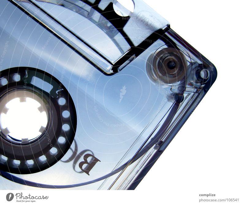 plastik ist fantastik! blau Musik grau retro Buchstaben analog Kunststoff Loch durchsichtig Tonband Rolle Siebziger Jahre Musikkassette Entertainment Popmusik