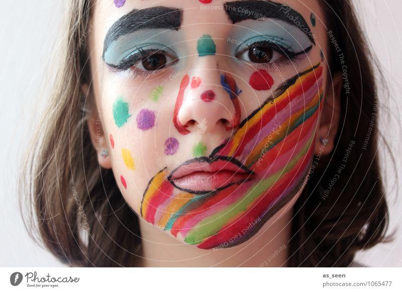 Regenbogen Maske Mensch Kind schön Farbe Mädchen Gesicht Auge Leben Gefühle Feste & Feiern Party Design Kindheit ästhetisch Kreativität einzigartig