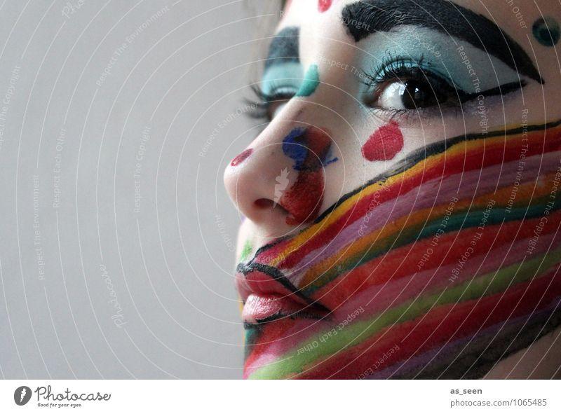 Maskerade Kind schön Farbe Mädchen dunkel Gesicht Auge Leben Gefühle außergewöhnlich Party Design Kindheit ästhetisch Kreativität einzigartig