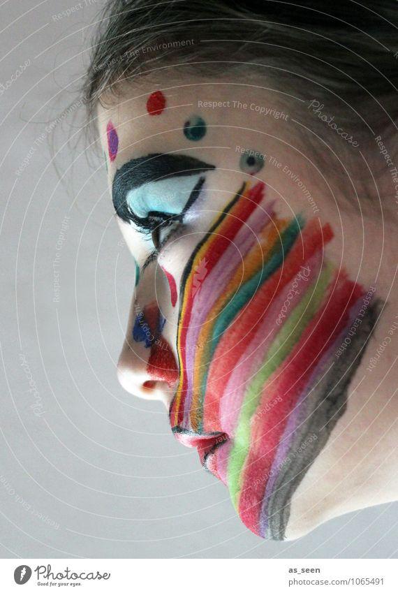 Profil in Farbe Kind Jugendliche schön Mädchen Gesicht Auge Leben Gefühle Stimmung Kunst Party leuchten Design Kraft Kindheit