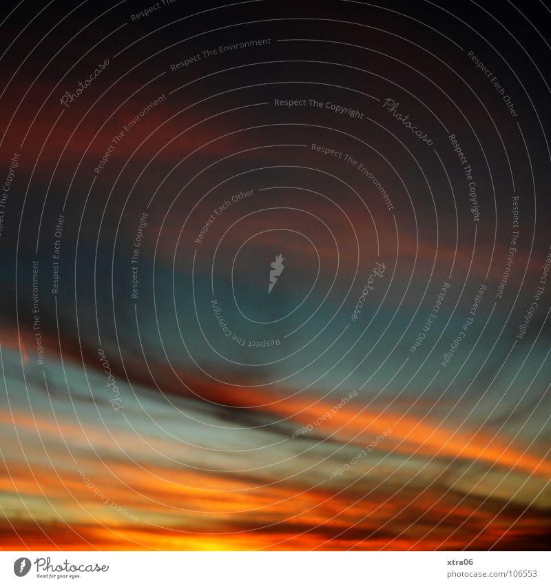 guten abend Himmel blau Wolken orange Romantik Farbverlauf