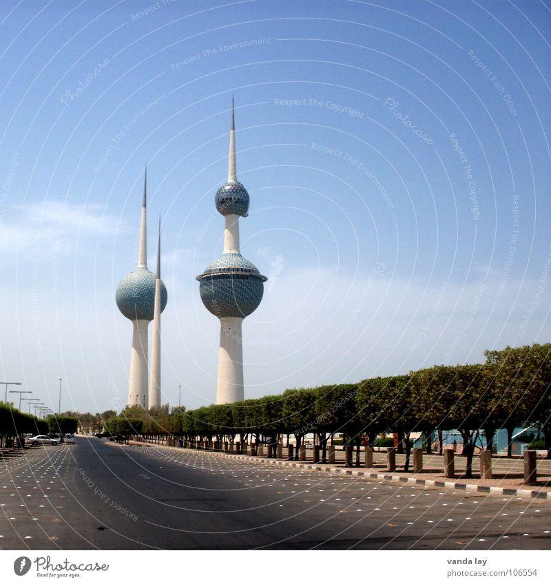 Kuwait Towers II Himmel Baum blau Sommer Wolken Straße Kunst 3 Macht rund Turm Spitze Kugel Denkmal Erdöl