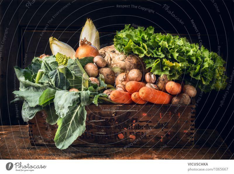 Gemüse Biokiste Natur Sommer Gesunde Ernährung gelb Leben Stil Holz Garten Lebensmittel Design Bioprodukte Pilz Kiste Diät