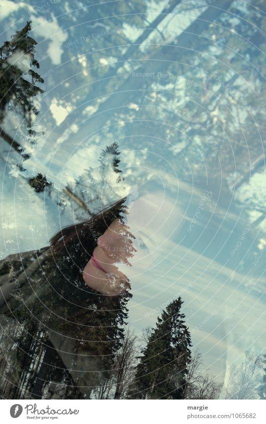 Wuuusch I Mensch Frau Ferien & Urlaub & Reisen Jugendliche grün Baum Junge Frau Erholung ruhig Freude Winter Wald Erwachsene Gesicht Leben Schnee