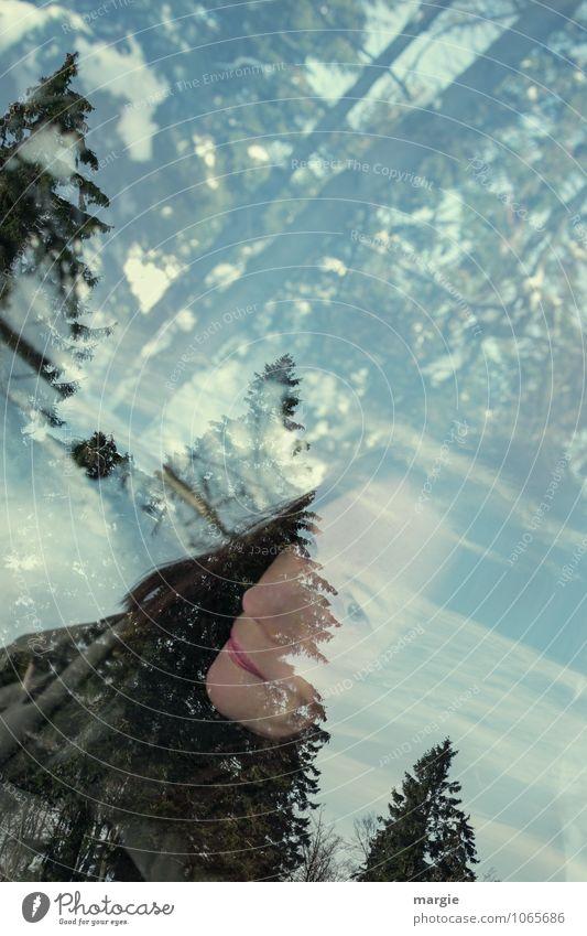 Wuuusch II Mensch Frau Ferien & Urlaub & Reisen Jugendliche grün Junge Frau Baum Erholung Winter Wald Gesicht kalt Erwachsene Bewegung Schnee feminin