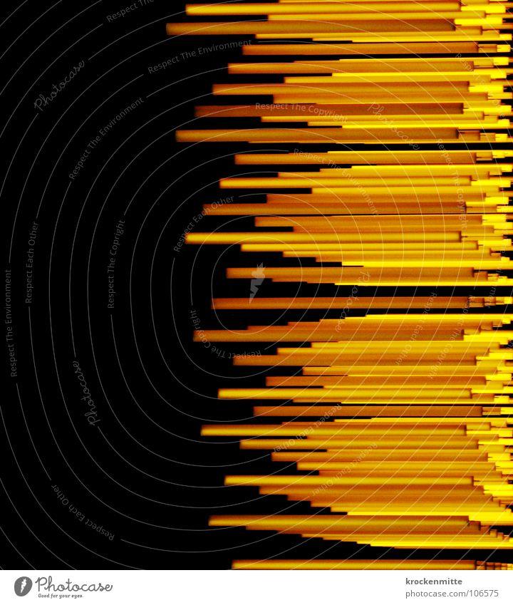 Lichtgeschwindigkeit Linie gelb schwarz abstrakt Geschwindigkeit Lampe Kunst Kultur orange nachziehen Equalizer Niveau tief
