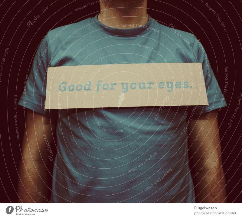 I like Photocase Mensch Jugendliche blau Freude 18-30 Jahre Erwachsene Auge natürlich Mode maskulin Schilder & Markierungen Bekleidung Fotografie retro T-Shirt