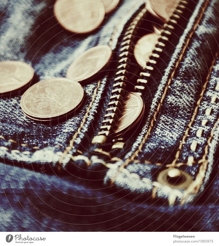 Verdienst Geld Hosentasche Jeanshose Geldmünzen Reißverschluss Cent