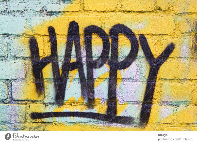 don't worry be ... Jugendkultur Subkultur Backsteinwand Schriftzeichen Graffiti authentisch Freundlichkeit positiv mehrfarbig Gefühle Glück Lebensfreude Erfolg