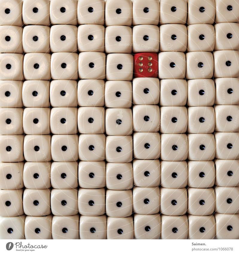 """kniffel: """"ich nehm dann die sechs"""" Zeichen Ziffern & Zahlen rot Würfel Würfelspiel Kniffel Punkt gepunktet 6 1 außergewöhnlich Außenseiter Linie Gedeckte Farben"""