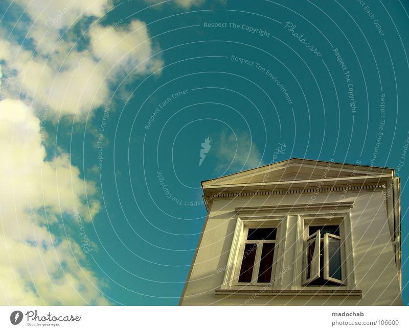 TRUMP ME Himmel blau weiß schön Wolken Haus Fenster Freiheit Architektur Gebäude träumen Luft Wetter Raum Wohnung geschlossen