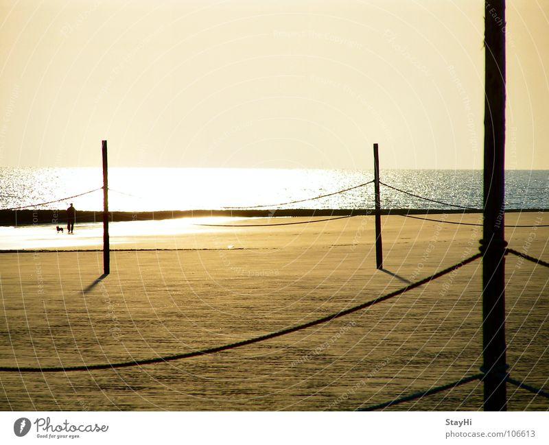 Wangerooge Meer Strand Ferien & Urlaub & Reisen Einsamkeit Ferne Sand Küste glänzend Seil Romantik Spaziergang Grenze Gassi gehen