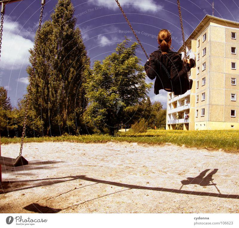Sitting here, thinking 'bout yesterday Schaukel Wohnhochhaus Wohnsiedlung Plattenbau Osten schön Spielplatz Frau genießen Erholung Leichtigkeit Denken Glück