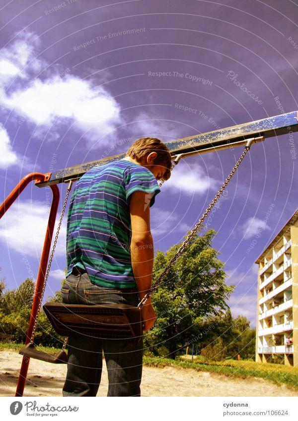 Sitting here, thinking 'bout yesterday I Schaukel Wohnhochhaus Wohnsiedlung Plattenbau Osten schön Spielplatz Mann genießen Erholung Leichtigkeit Denken Glück