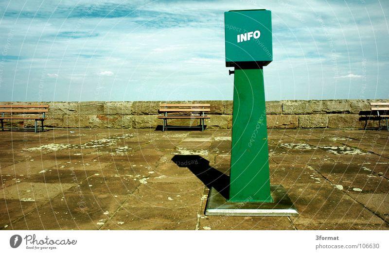 info Himmel blau grün Ferien & Urlaub & Reisen Wolken Einsamkeit ruhig Ferne Stein Traurigkeit Kunst Horizont Ausflug leer trist Telekommunikation