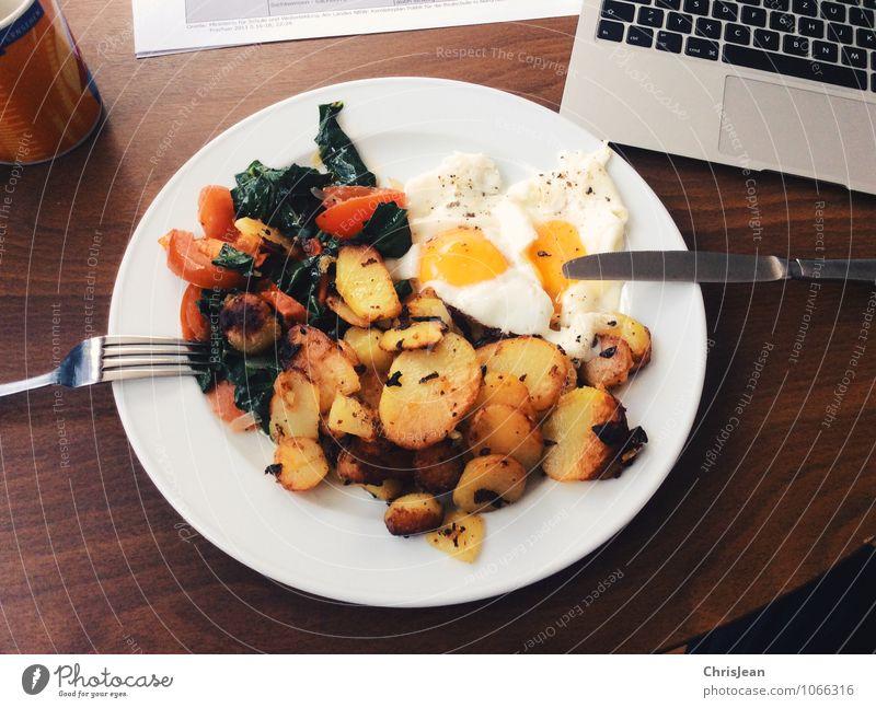 Studentenessen Essen Lebensmittel Arbeit & Erwerbstätigkeit Ernährung lernen Studium Kräuter & Gewürze Kaffee Gemüse Bioprodukte Frühstück Tasse Teller Vegetarische Ernährung Notebook Messer