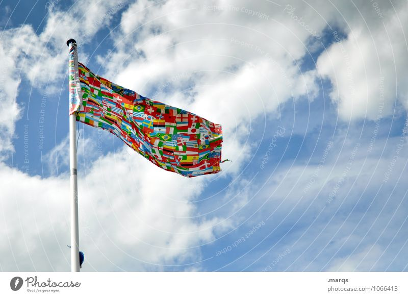 International Ferien & Urlaub & Reisen Himmel Wolken Schönes Wetter Fahne außergewöhnlich mehrfarbig Freiheit Gesellschaft (Soziologie) Politik & Staat weltweit