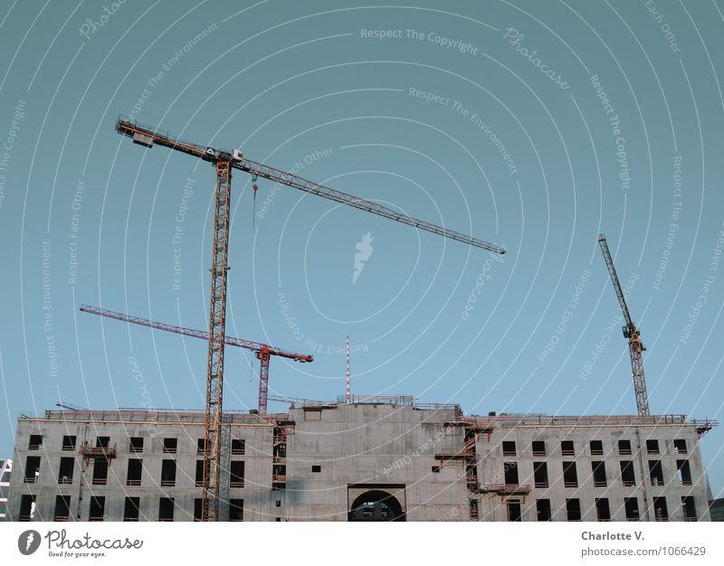 Schloss Wahnsinn Berlin Berlin-Mitte Deutschland Europa Hauptstadt Stadtzentrum Burg oder Schloss Bauwerk Gebäude Fassade Stadtschloss Kran Beton bauen Wachstum