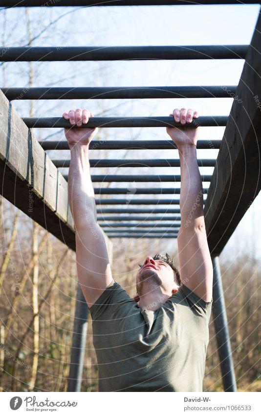 am Ende seiner Kräfte Jugendliche Erholung Erwachsene Sport maskulin Kraft Körper Fitness sportlich Stress hängen Sport-Training anstrengen kämpfen Erschöpfung Willensstärke