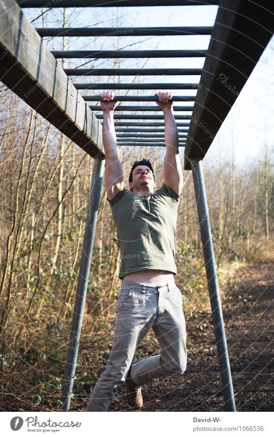 Hindernisparcour Station 1 Mensch Jugendliche Junger Mann Erwachsene Leben Sport Gesundheit Gesundheitswesen maskulin Körper Fitness sportlich stark rennen