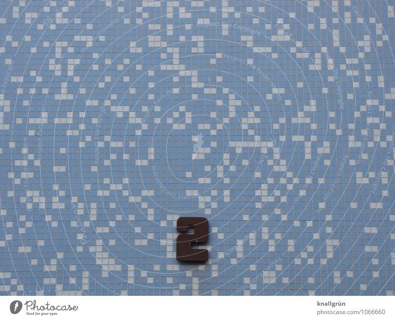 2 Mauer Wand Fassade Hausnummer Ziffern & Zahlen eckig blau schwarz weiß Design Mosaik Fliesen u. Kacheln Quadrat Muster Farbfoto Außenaufnahme Menschenleer
