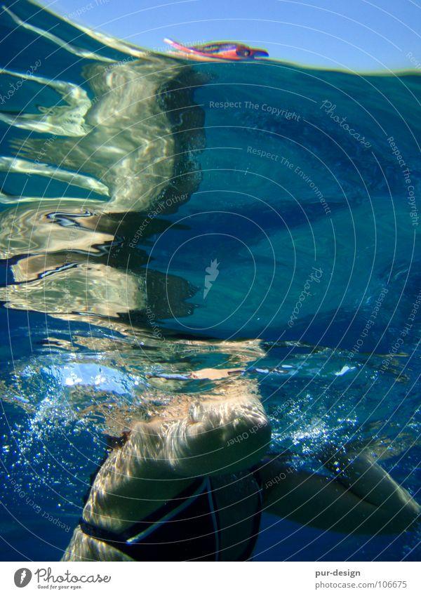 unterwasser2 Wasser Meer blau Sommer Ferien & Urlaub & Reisen Wellen tauchen Schwimmen & Baden Schnorcheln Kreta Meerwasser Paleochora