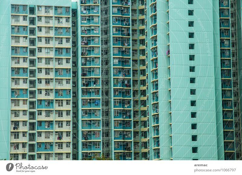 Individuelles wohnen Hong Kong Hongkong Asien Stadt Stadtzentrum bevölkert Haus Hochhaus Architektur Balkon Fenster Häusliches Leben blau Einsamkeit einzigartig