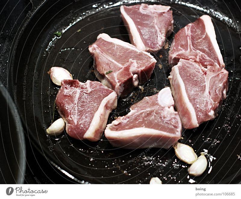 Fleisch Schaf Ziegen Lammkotelett Biergarten Pfanne Neuseeland Gast Geschmackssinn streng frisch dünn Portion Himmelskörper & Weltall Gastronomie anbraten