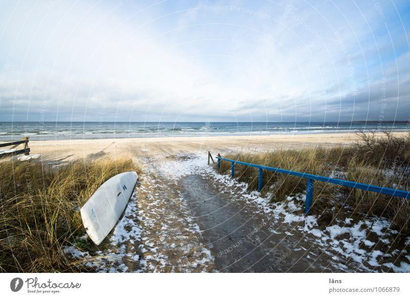 einfach sein Himmel Natur Ferien & Urlaub & Reisen Wasser Erholung Landschaft Wolken Strand Winter Umwelt Gras Wege & Pfade Küste Schnee Sand Horizont