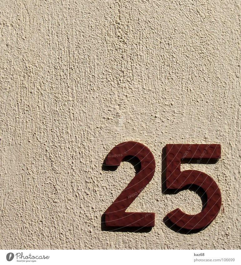 25 rot Haus Straße Leben Wand Mauer Hintergrundbild Ziffern & Zahlen Häusliches Leben 7 Heimat Mathematik Hausnummer