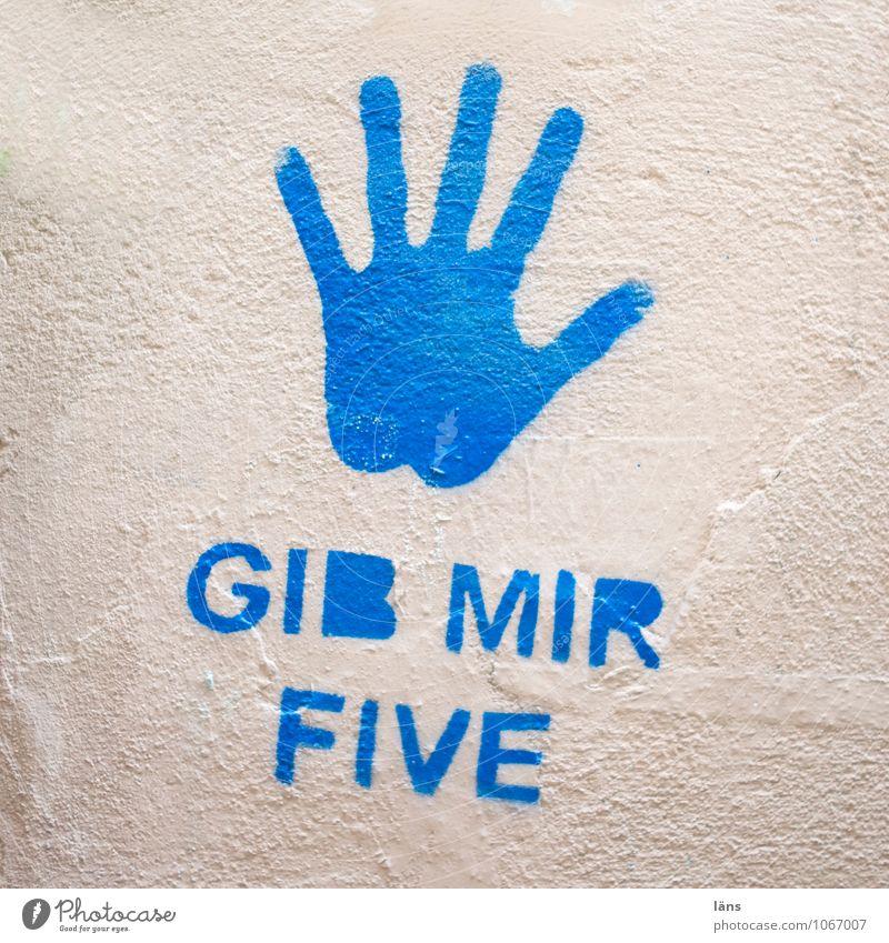 Linkshänder blau Hand Wand Graffiti Mauer Schriftzeichen Coolness Ziffern & Zahlen Information Begrüßung Entschlossenheit Abdruck