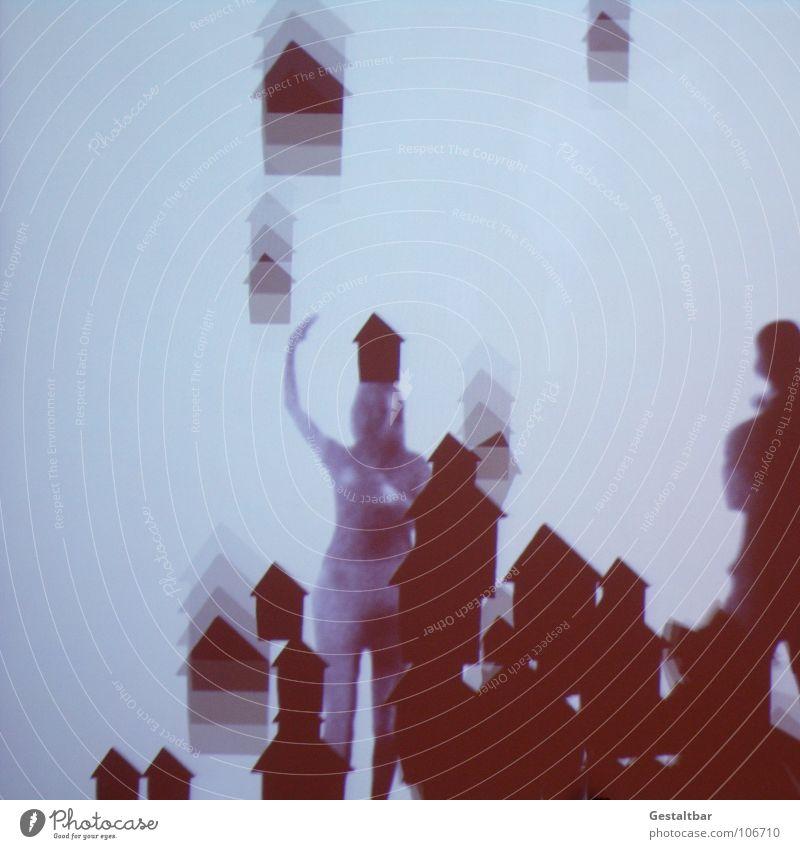 Schattenspiel 09 Frau feminin Mann maskulin Silhouette geheimnisvoll stehen Haus gestaltbar Ausstellung Projektionsleinwand Bewegung voll drauf frei märchhaft