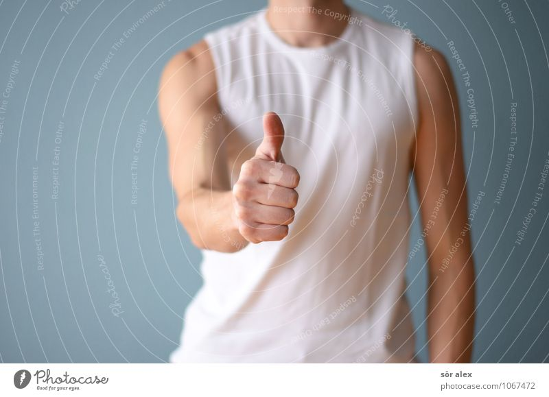 war nicht schlecht Mensch Mann blau weiß Hand Erwachsene Leben maskulin Körper Erfolg Perspektive Fitness Hoffnung sportlich positiv Karriere