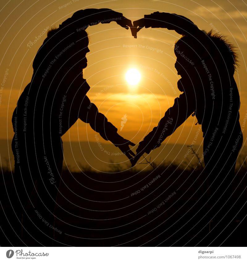 Sonnenuntergang Herz Freude schön Leben Sommer Meer Mensch Mädchen Frau Erwachsene Paar Hand Natur Zeichen Liebe Zusammensein gelb Gefühle Fröhlichkeit Form