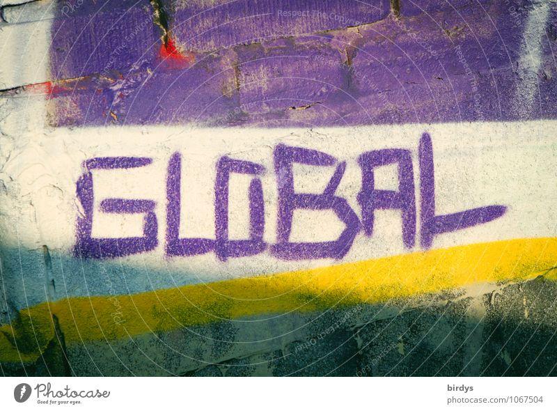 vernetzt Schriftzeichen Graffiti Unendlichkeit positiv gelb violett weiß Leben Business Farbe Fortschritt Horizont Klima Kommunizieren Krise Leistung Ordnung