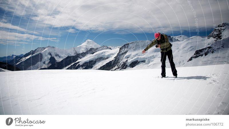 on the top Mensch alt Ferne dunkel kalt Schnee Erholung Berge u. Gebirge Eis hell Schweiz gefroren Alpen genießen Alpen Kristallstrukturen