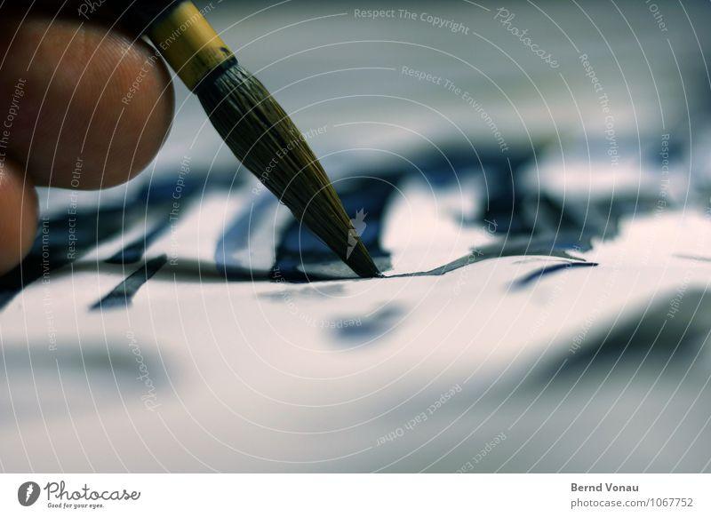 Berührung schön Haare & Frisuren Handarbeit Finger Kunst Papier Linie berühren zeichnen Spitze blau braun Farbe Tradition Pinsel malen Aquarell fein analog